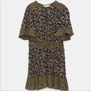 Zara mixed floral print dress with bow - size XS!
